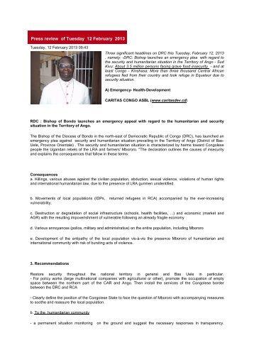 Press review of Tuesday 12 february 2013 - Caritas Congo