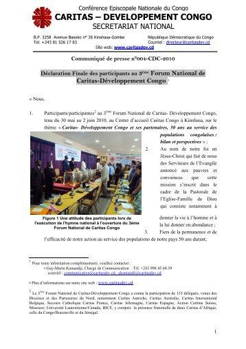 N° 004-CDC-2010 sur le 3ème Forum National de ... - caritasdev.cd