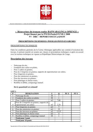 Prescriptions Techniques pour les Ponts en grumes - caritasdev.cd
