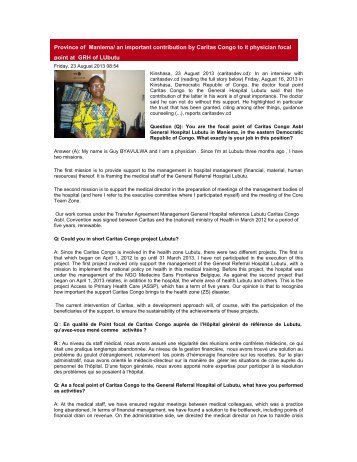 an important contribution by Caritas Congo to it ... - caritasdev.cd