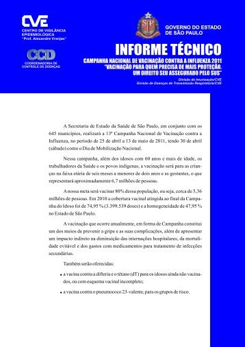 Informe Técnico - Centro de Vigilância Epidemiológica - Governo do ...