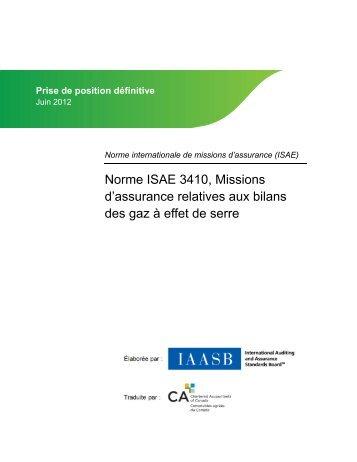 Missions d'assurance relatives aux bilans des gaz à effet de serre
