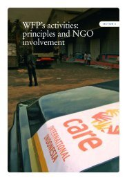WFP's activities: principles and NGO involvement