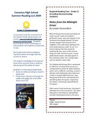 Coventry High School Summer Reading List 2009 Notes from the ...