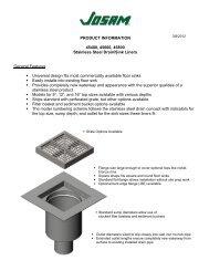 Josam Stainless Steel Retrofit Floor Sink Liner Information Sheet
