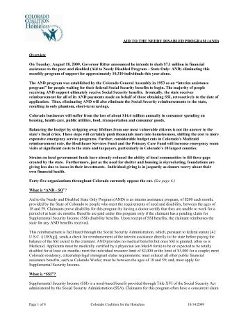 to download the Fact Sheet - Colorado Coalition for the Homeless