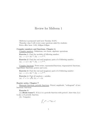 midterm exam review Midterm exam}scope: chapters 1{6, and common lisp the test won't include chapters 7 and 8}open book, open notes}no electronic devices my exams can sometimes be very hard.