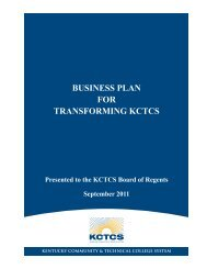business plan for transforming kctcs - Kentucky Community ...