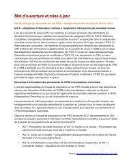 Mot d'ouverture et mise à jour - Normes d'information financière et ...