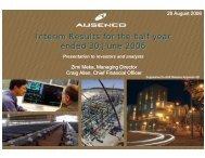 June Half Year Presentation - Ausenco