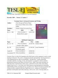 The Electronic Journal for English as a Second Language - TESL-EJ