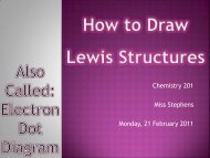 Chemistry 201 Miss Stephens Monday, 21 February 2011