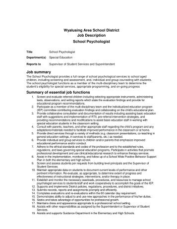 Job Description School Psychologist  Selah School District