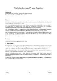 Virtualisation des réseaux IP : retour d'expérience - JRES 2011