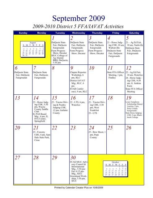 Siuc Calendar.09 10 District Iavat Ffa Calendar Pdf Illinois Agricultural Education