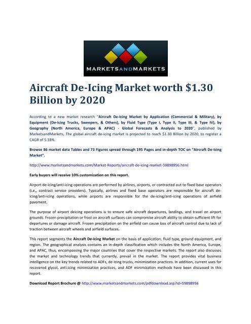 Aircraft De-Icing Market by Application - 2020 | MarketsandMarkets