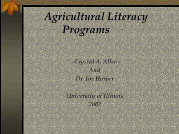 Agricultural Literacy Programs - Illinois Agricultural Education