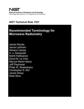 Recommended Terminology for Microwave Radiometry - Remote ...