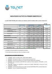 INDICATEURS D'ACTIVITE DU PREMIER SEMESTRE 2011 - Telnet