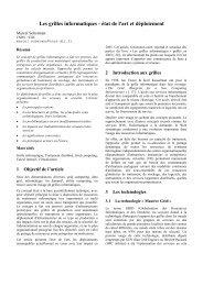 Les grilles informatiques - état de l'art et déploiement - JRES 2005