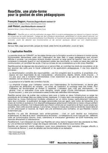 RearSite, une plate-forme pour la gestion de sites pédagogiques