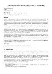 Tutoriel spam - JRES 2005