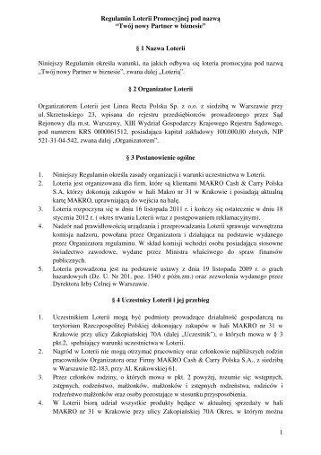 Regulamin Loterii Promocyjnej - Makro