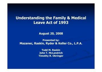 Understanding FMLA - Mazanec, Raskin & Ryder Co., LPA