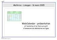 WebCalendar : présentation - Mathrice