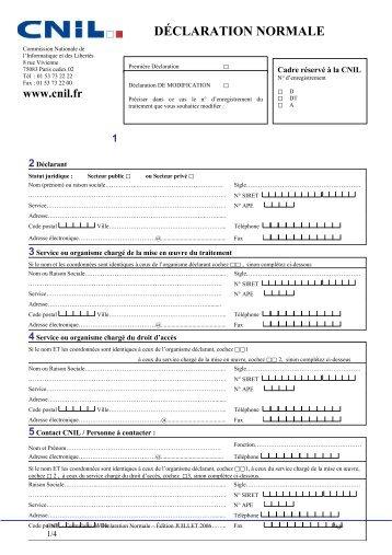 Formulaire de déclaration normale à la CNIL