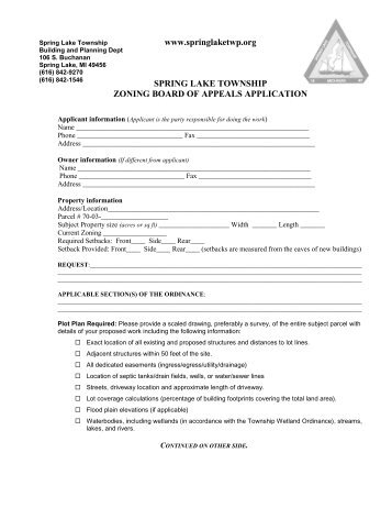 Zoning Board of Appeals Application