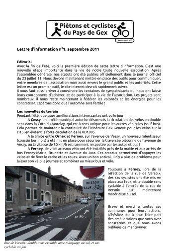 Lettre d'information n°1, septembre 2011 - APiCy