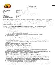 Page 1 ############ CITY OF FRUITA JOB DESCRIPTION # Date ...