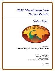 2013 Citizen Survey Results - City of Fruita