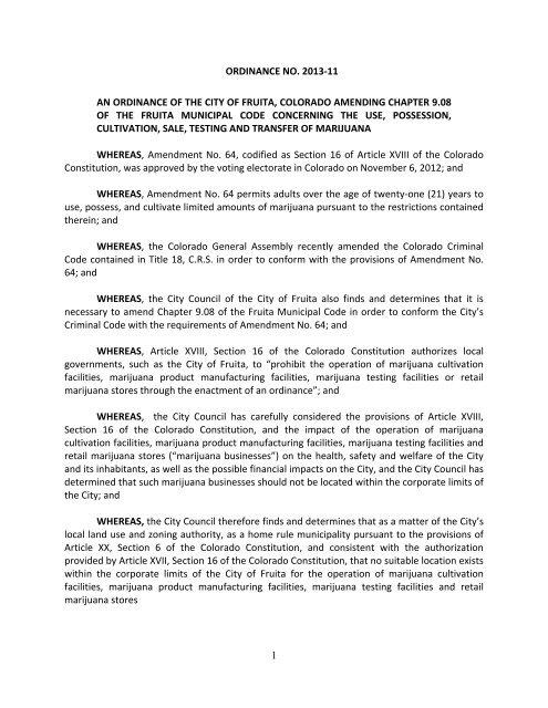 1 ORDINANCE NO. 2013-11 AN ORDINANCE OF ... - City of Fruita