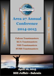 Newsletter Area 27 Annual Conference 2014-2015