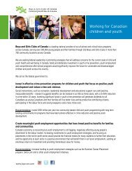 Working for Canadian children and youth - Boys and Girls Clubs of ...