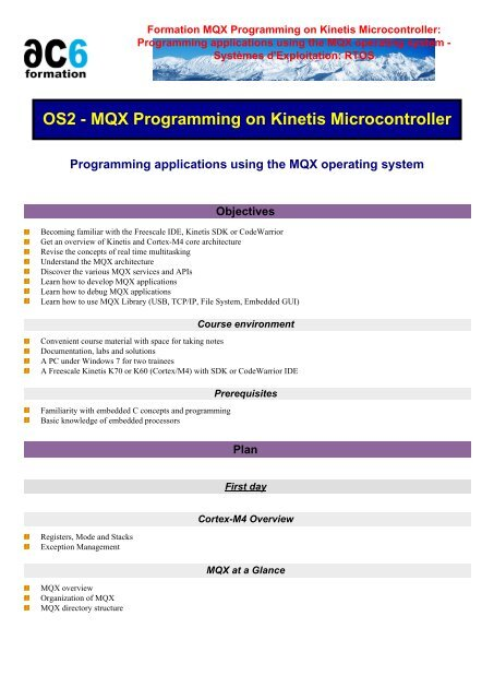 MQX Programming on Kinetis Microcontroller - Ac6-formation
