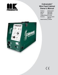 Cobramatic® Wire Feed Cabinet Owner's Manual - MK Products