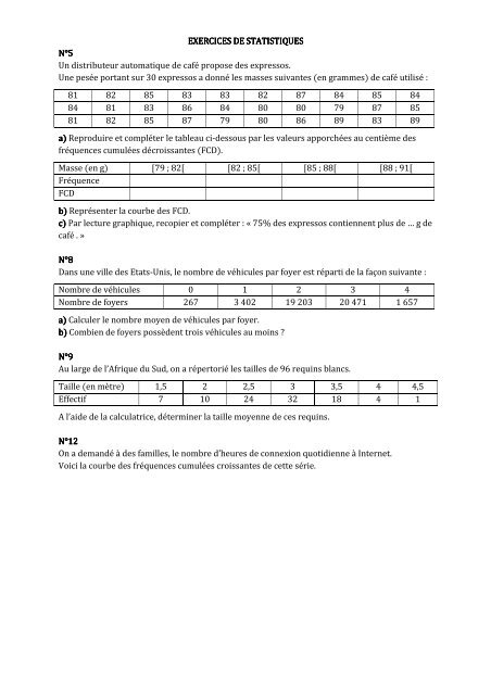 Exercices Statistiques Seconde
