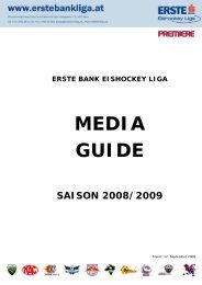 erste bank eishockey liga media guide saison 2008/2009