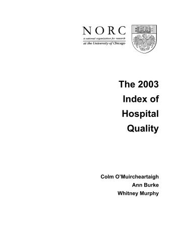 The 2003 Index of Hospital Quality