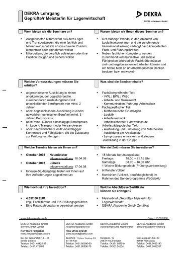 DEKRA Lehrgang Geprüfte/r Meister/in für Lagerwirtschaft