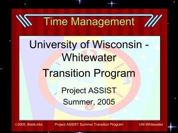 Time Management University of Wisconsin - Whitewater ... - Club TNT