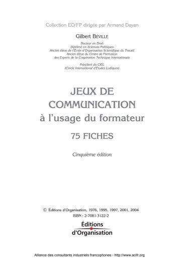 JEUX DE COMMUNICATION à l'usage du formateur - ACIFR