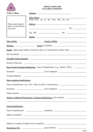 Job application for a position as a teaching assistant corrector application for teaching position trinity college altavistaventures Choice Image