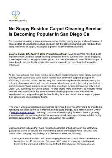 No Soapy Residue Carpet Cleaning Service Is Becoming Popular In San Diego Ca