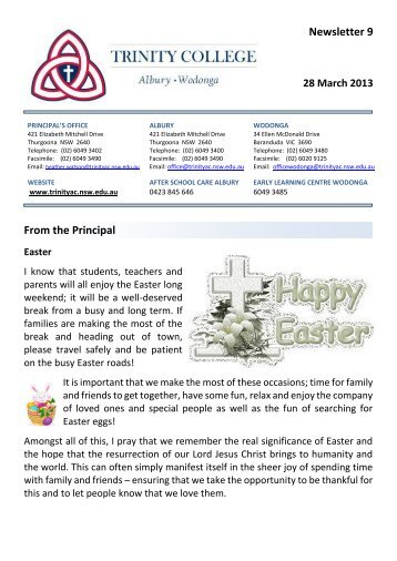 Newsletter 9 From the Principal - Trinity College