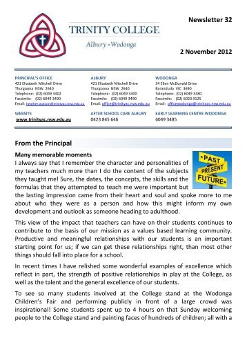 Newsletter 32 From the Principal - Trinity College
