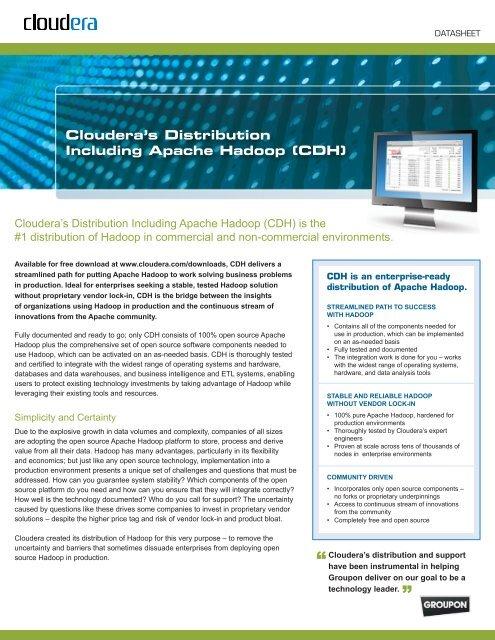 Cloudera's Distribution Including Apache Hadoop (CDH) - A